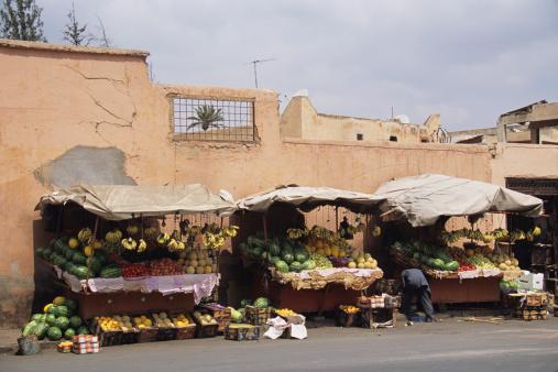 Puestos de comida en las calles de Marrakech