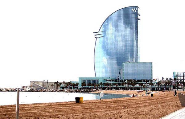 Playa de Barcelona con el hotel Wella