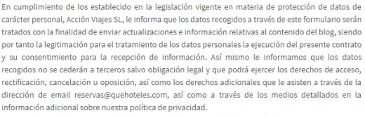 Política de Privacidad y Cookies Blog Quehoteles